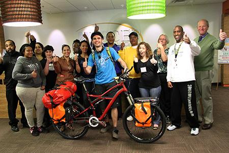 Jesse Herrera with students at Trenton Campus